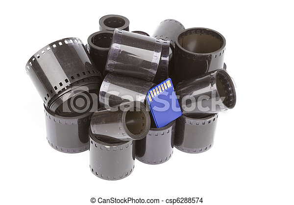 35mm film rolls and sd flash card - csp6288574