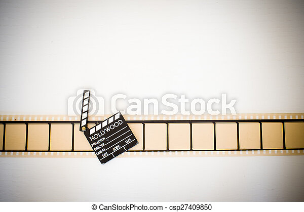 35mm movie filmstrip blank frames reel with clapper board vintage ...