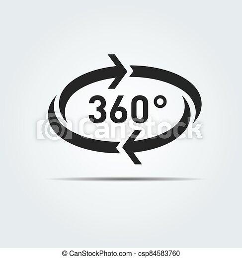 360 degree circular rotation. Vector arrows. Refresh and reload icon. - csp84583760