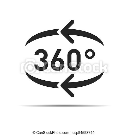 360 degree circular rotation. Vector arrows. Refresh and reload icon. - csp84583744