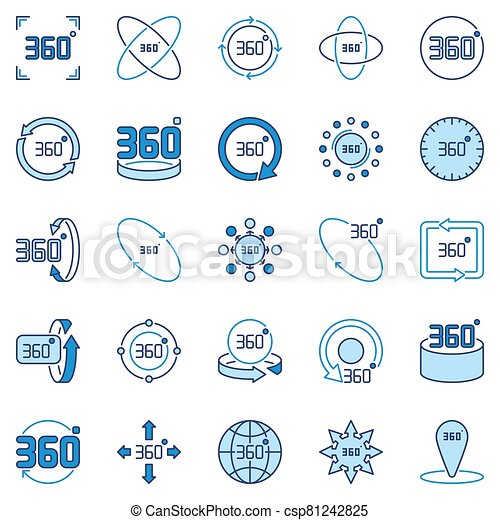 360 Degree vector colored icons collection. Rotation signs - csp81242825