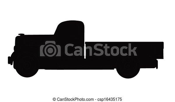 37 pickup truck in silhouette - csp16435175