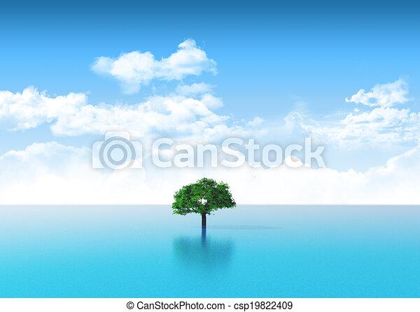 Escena del océano 3D con árbol - csp19822409