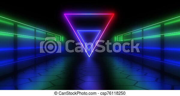 3d, トンネル, イラスト, 抽象的, 建築, light., ネオン - csp76118250