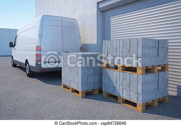 3d, ブロック, 出産, レンダリング, コンクリート, 倉庫, バン - csp84726646