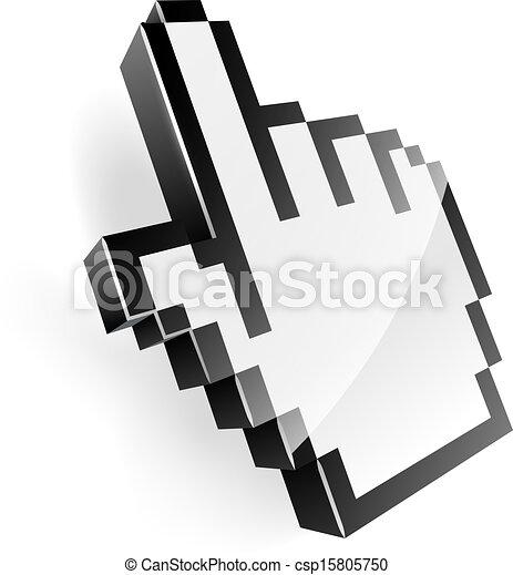 3d, ポインター, ピクセル, イラスト, 手 - csp15805750