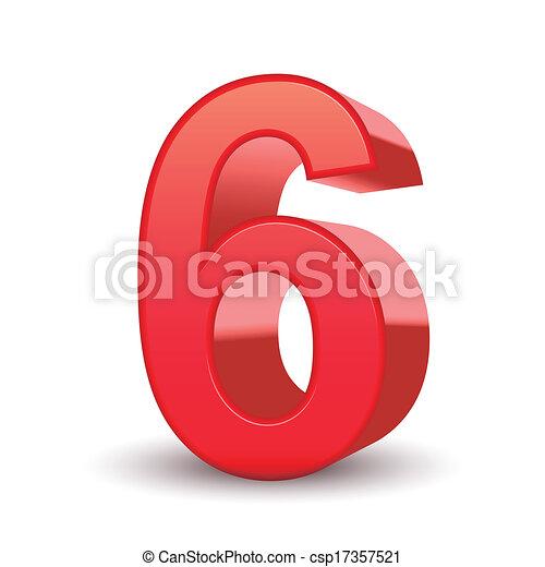 3d, 光沢がある, 数, 赤, 6 - csp17357521