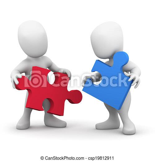 3d, 協力しなさい, 2人の人々 - csp19812911