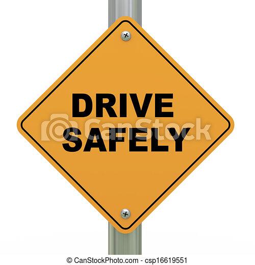 3d, 安全地, 驅動, 路標 - csp16619551