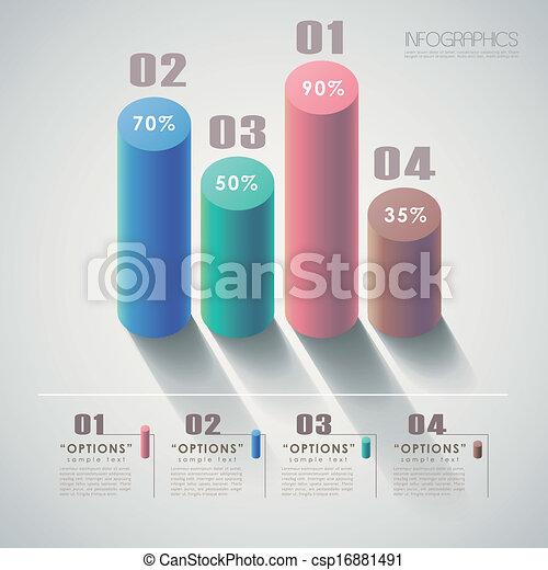 3d, 抽象的, ベクトル, チャート, infographics - csp16881491