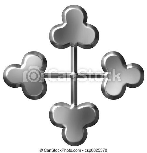3d, 装飾, 交差点, 銀 - csp0825570