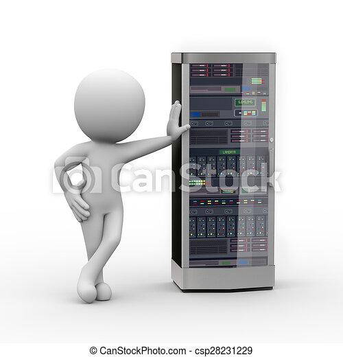 3d, 電腦網路, 人, 服務器 - csp28231229