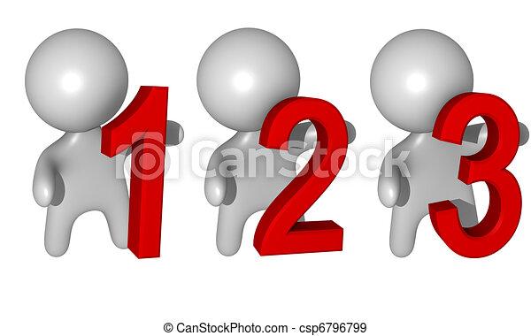 3d 1,2,3 figures - csp6796799