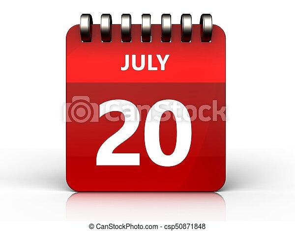 3d 20 july calendar - csp50871848