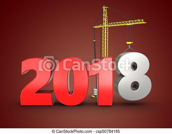 3d 2018 year sign - csp50784185