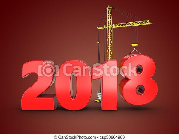 3d 2018 year sign - csp50664960