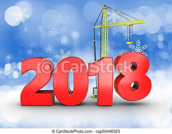3d 2018 year sign - csp50446323