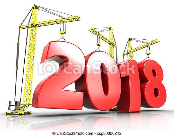 3d 2018 year sign - csp50880243