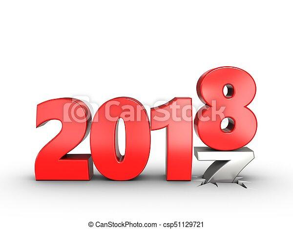 3d 2018 year sign - csp51129721