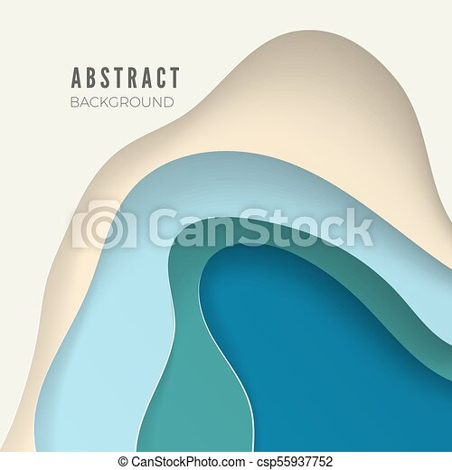 3D abstract background with white paper cut shapes. Design layout for business presentations, flyers, posters. Vector illustration - csp55937752