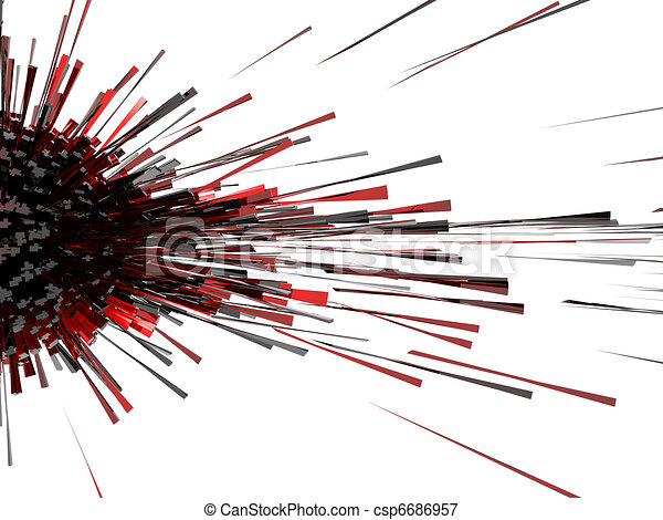 3d abstract explosion red  - csp6686957