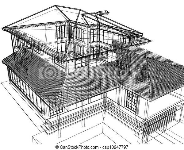 3d abstract modern architecture - csp10247797