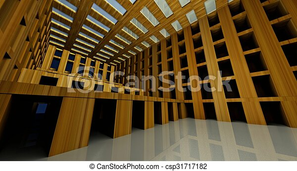 3d abstract modern architecture interior - csp31717182
