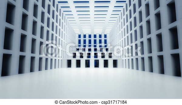 3d abstract modern architecture interior - csp31717184