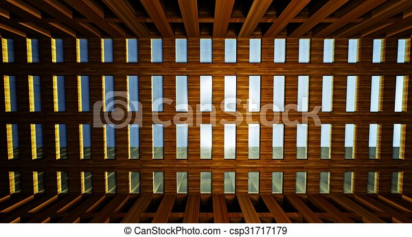 3d abstract modern architecture interior - csp31717179