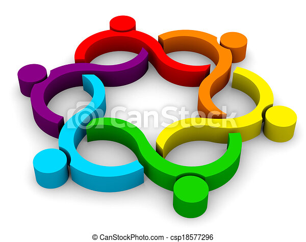 3d abstract teamwork wave group - 6 elements.