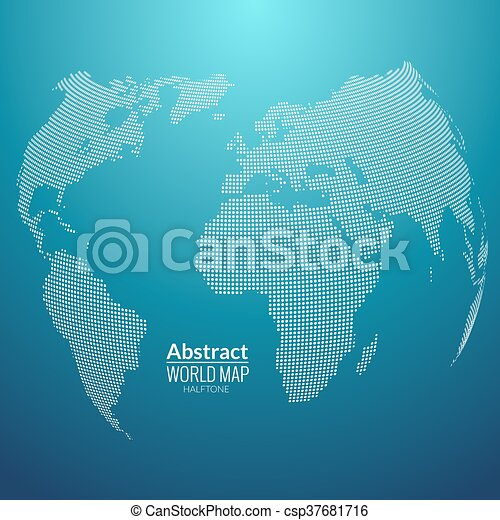 3d abstract world map planet dots global halftone map vector 3d abstract world map planet dots global halftone map concept on dark csp37681716 gumiabroncs Gallery