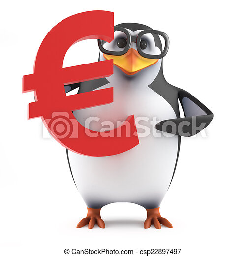 3d Academic penguin holds a Euro currency symbol - csp22897497