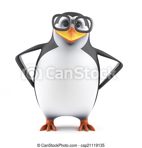 3d Academic penguin with hands on hips - csp21119135