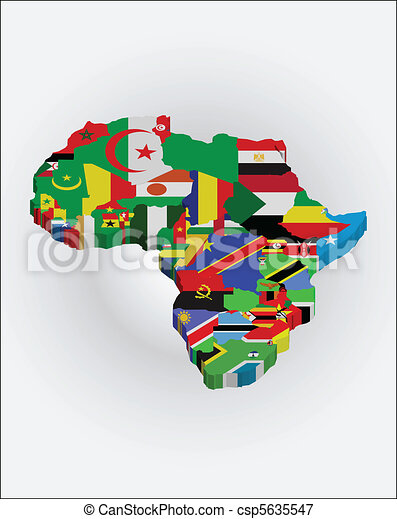 Map Of Africa 3d.3d African Map 3d Africa Map With National Flags