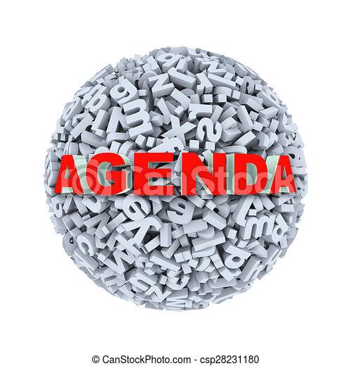 3d agenda - alphabet letter character sphere ball - csp28231180