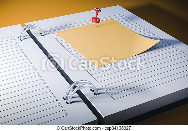 3d agenda with blank sticky note - csp34138027