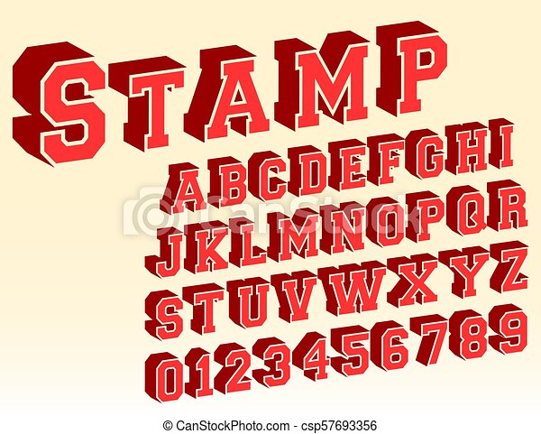 3d alphabet font template. letters and numbers vintage stamp design. vector illustration.