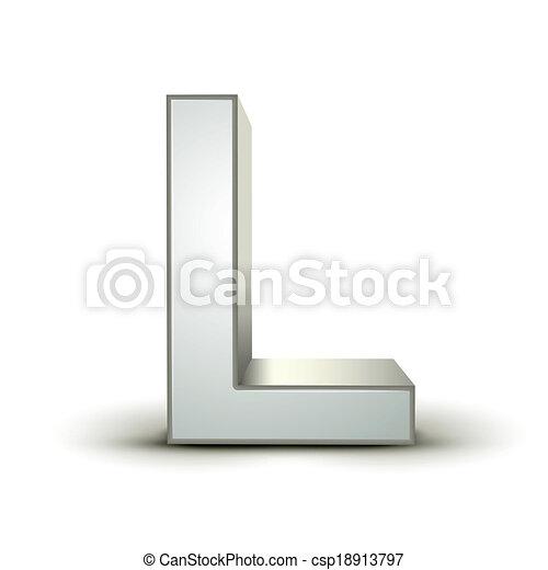 3d alphabet silver L - csp18913797