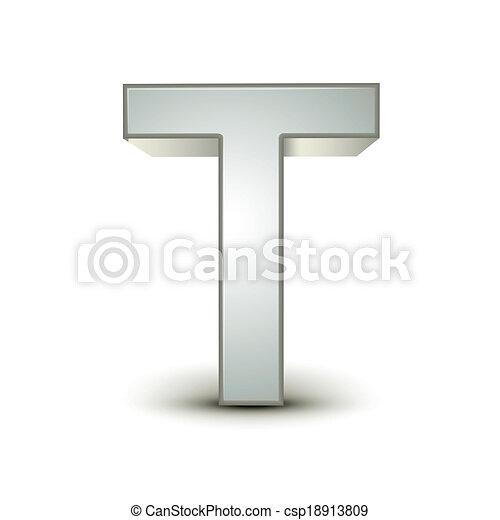 3d alphabet silver T - csp18913809