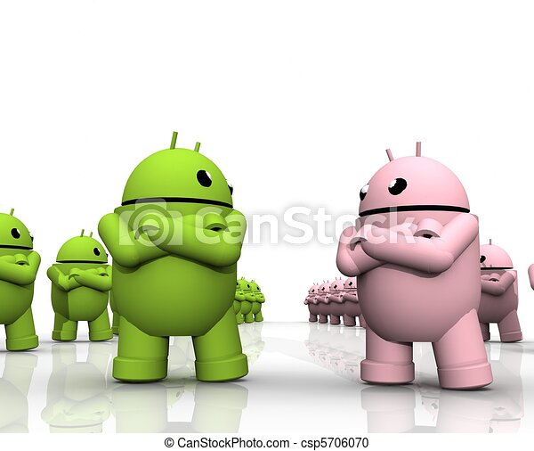3d android friction a two groups of android are facing each other
