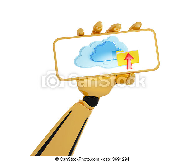 3d android's hand hold a plate with cloud computing icon - csp13694294