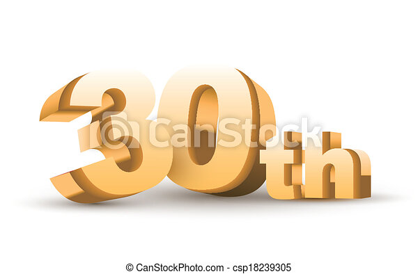 3d anniversary 30th isolated on white background vector clipart