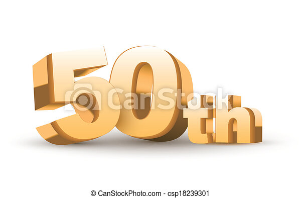 Isolated abstract golden th anniversary logo on white background