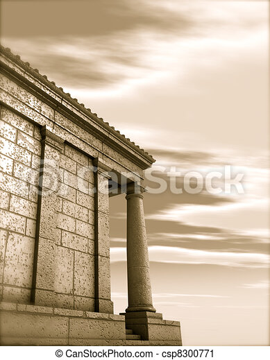 3d antique classical architecture roman monument render  - csp8300771