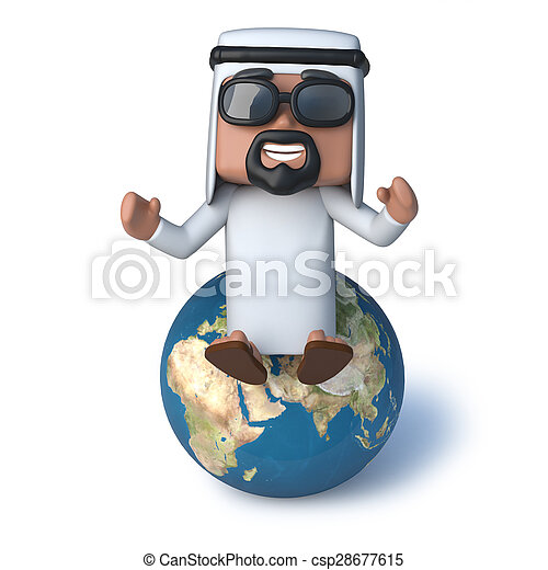 3d Arab sitting on top of the world - csp28677615