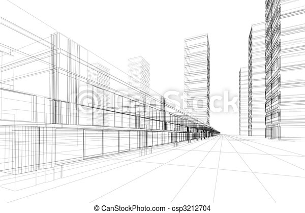 3D architecture abstract - csp3212704