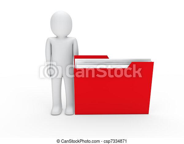 3d hombre archivo rojo - csp7334871