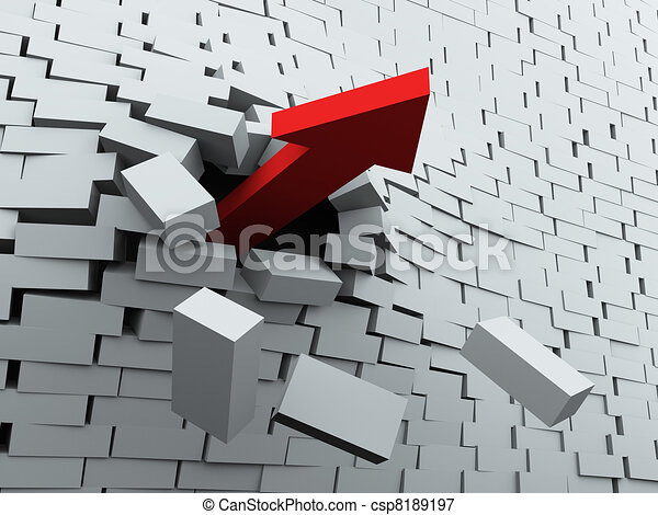 3d arrow breaking wall - csp8189197