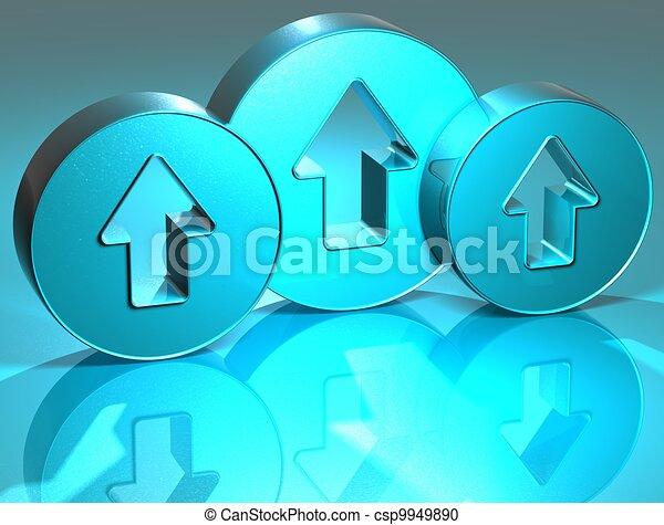 3D Arrows Blue Sign - csp9949890