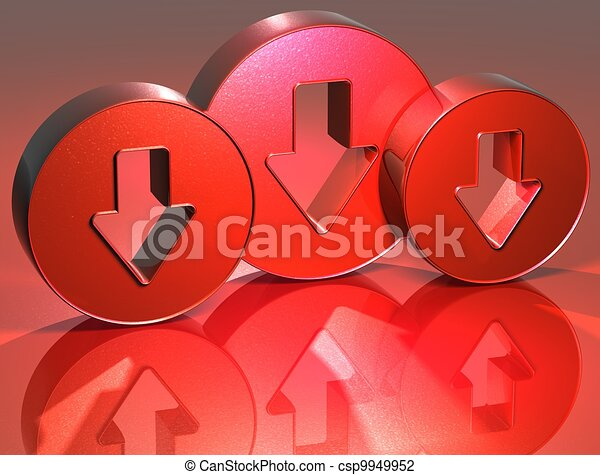 3D Arrows Red Sign - csp9949952
